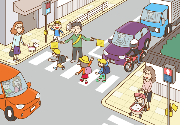 町並み 横断歩道 小学生