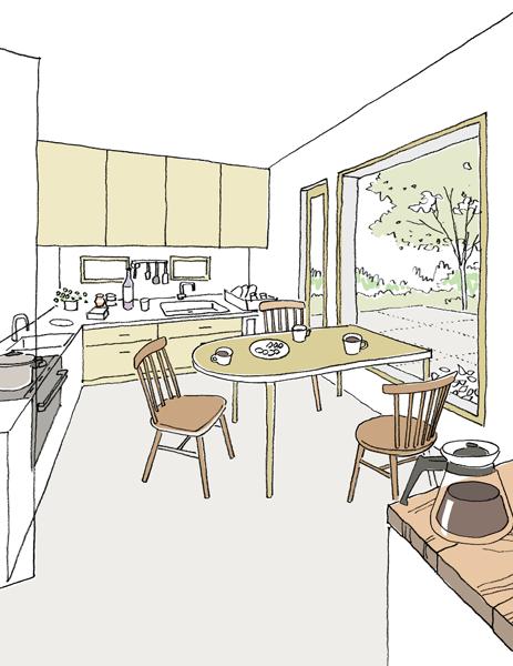 キッチンのパース1