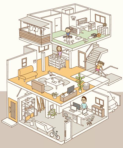 3階建て住宅の断面アイソメ図