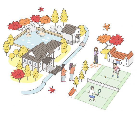 秋、温泉、テニスのイラスト